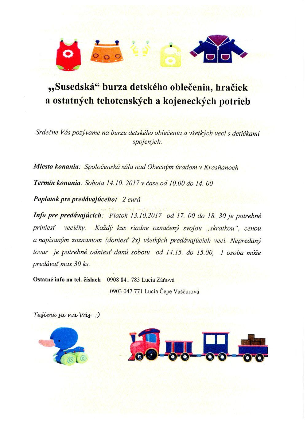 eeb3582a853b Burza detského oblečenia a hračiek - Obec Krasňany